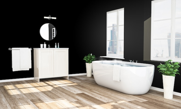 Zwart en houten badkamer klaar om te ontspannen bad
