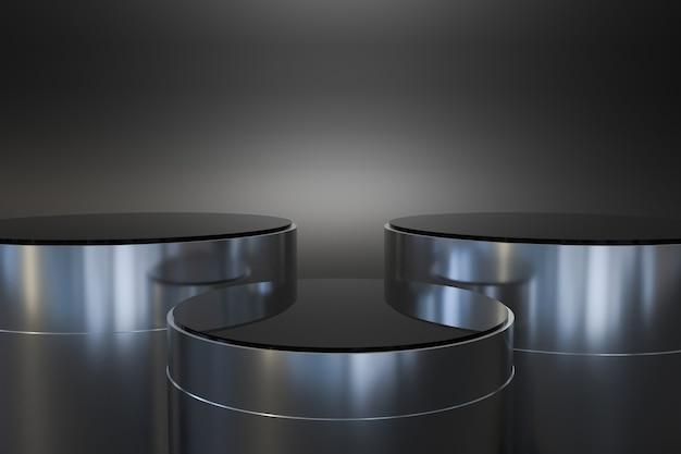 Zwart en metalen podium voor productvertoning. 3d-weergave premium foto