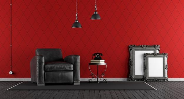 Zwart en rood klassieke woonkamer