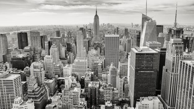 Zwart en wit stadslandschap