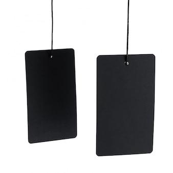 Zwart etiket op draad op witte achtergrond