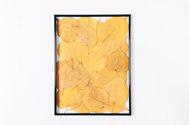 Zwart frame gevuld met droge gele herfstbladeren