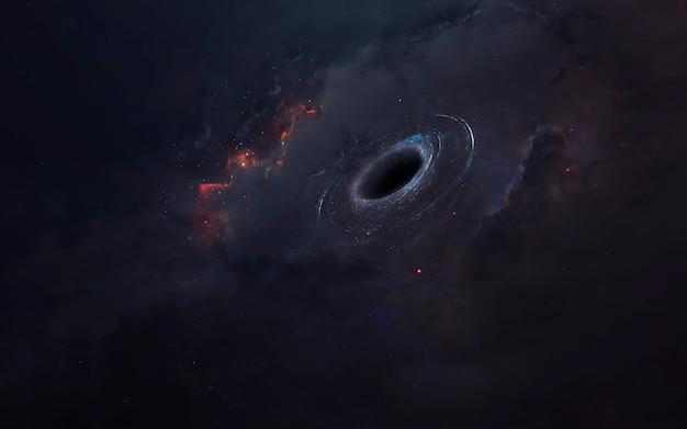Zwart gat, geweldig sciencefictionbehang, kosmisch landschap. elementen van deze afbeelding geleverd door nasa