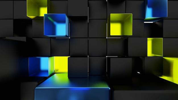 Zwart, geel, blauw, zwart acryl kubusbehang en abstract tentoonstellingspodium, eenvoudig te downloaden 3d-weergave