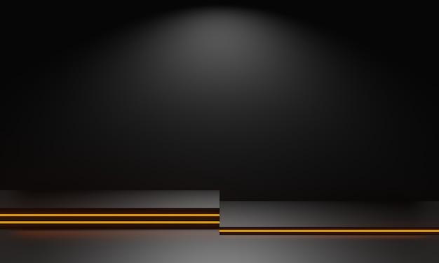 Zwart geometrisch podium met gouden neonlichten