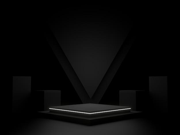 Zwart geometrisch podiumpodium en neonlicht donkere achtergrond