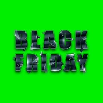 Zwart glas belettering black friday op een groene achtergrond isoleren. uitverkoop flyer, tijdschrift stijl modern design kortingen prijs drop poster. 3d illustratie 3d render.
