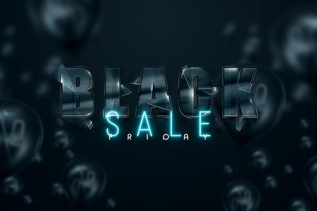 Zwart glas inscriptie black friday op een zwarte achtergrond. uitverkoop flyer, tijdschrift stijl modern design kortingen prijs drop poster. 3d illustratie 3d render kopie ruimte