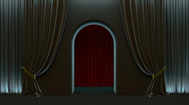 Zwart gordijn, vip-deuringang, 3d boogdeur