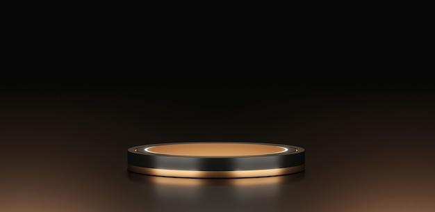 Zwart goud podium achtergrond stand of leeg podium platform of minimale gouden moderne showcase voetstuk op product tentoonstelling display cosmetische achtergrond met luxe studio sjabloon scène. 3d-weergave.