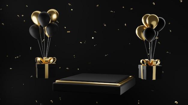 Zwart gouden podium met ballon en geschenkdoos