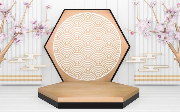 Zwart hexagon podium houten ontwerp op wit minimaal ontwerp als achtergrond. 3d-weergave