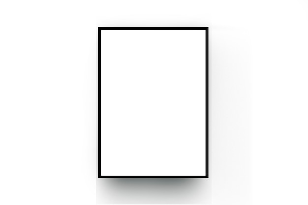 Zwart houten frame op de witte ruimtemuur