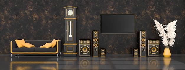 Zwart interieur met modern design zwart en geel luidsprekersysteem, antieke klok en tv, 3d illustratie