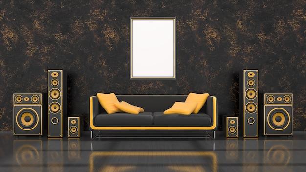 Zwart interieur met modern design zwart en geel luidsprekersysteem, bank en frame voor mockup, 3d illustratie