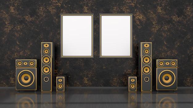 Zwart interieur met modern design zwart en geel luidsprekersysteem en frame voor mockup, 3d illustratie