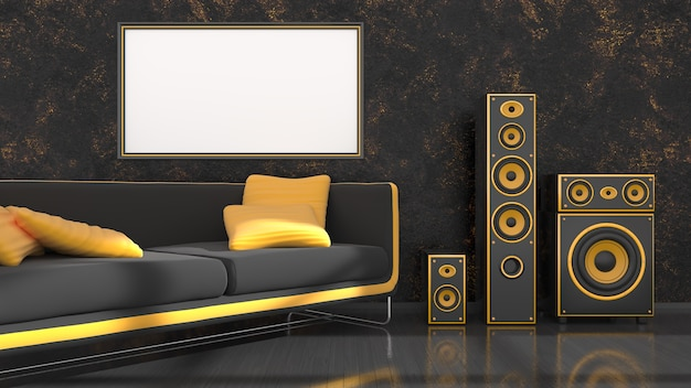 Zwart interieur met moderne design zwarte en gele bank, luidsprekersysteem en frame voor mockup, 3d illustratie