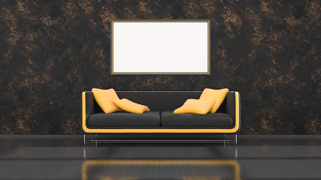 Zwart interieur met moderne zwarte en gele bank en frames voor mockup, 3d illustratie