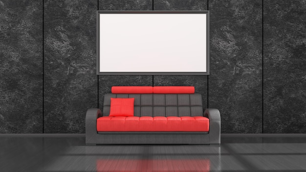 Zwart interieur met moderne zwarte en rode bank en frames voor mockup, 3d illustratie