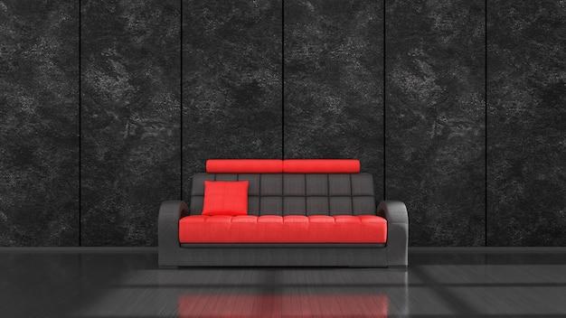 Zwart interieur met moderne zwarte en rode bank voor mockup, 3d illustratie