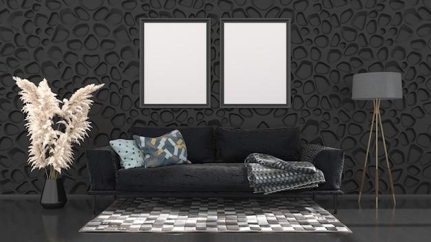 Zwart interieur met zwarte bank en frames voor mockup, 3d illustratie