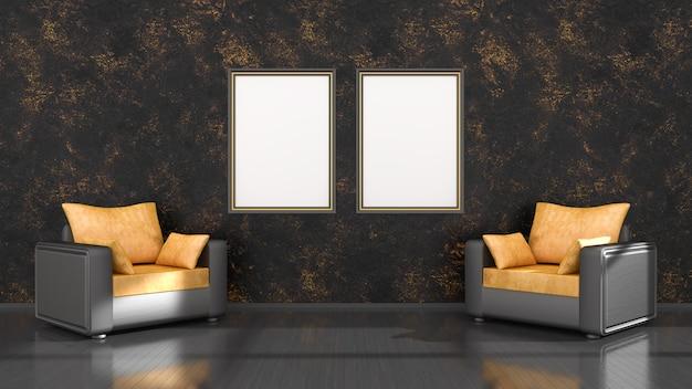 Zwart interieur met zwarte en gele frames en een fauteuil voor mockup, 3d illustratie