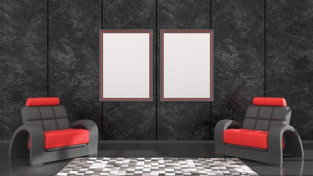 Zwart interieur met zwarte en rode frames en een fauteuil voor mockup, 3d illustratie