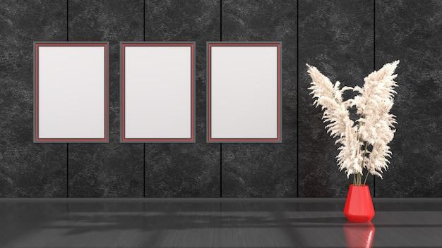 Zwart interieur met zwarte en rode frames voor mockup, 3d illustratie