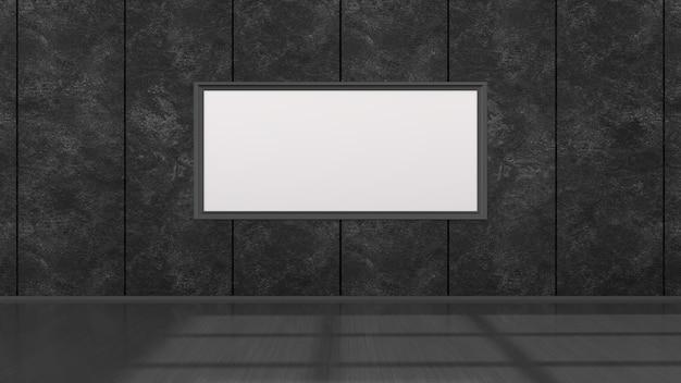 Zwart interieur met zwarte frames voor mockup, 3d illustratie