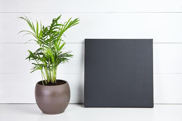 Zwart katoenen canvas en groene plant in pot op wit houten oppervlak