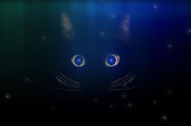 Zwart kattenconcept onder sterrige hemel, donkere geheimzinnige stijl. gloeiende kattenogen in het donker