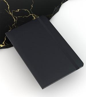 Zwart kladblok-briefpapier met hoge weergave