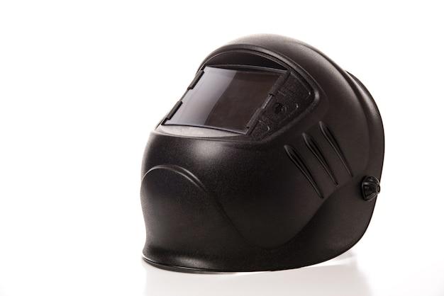 Zwart lasmasker geïsoleerd op zuivere witte achtergrond
