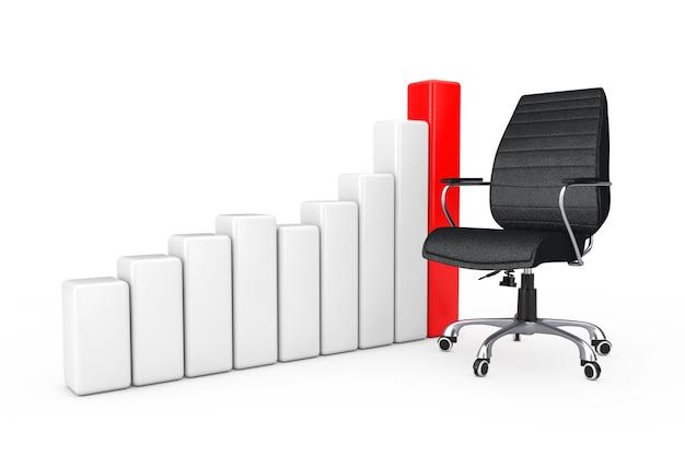 Zwart lederen baas bureaustoel in de buurt van zakelijke succes groei grafiek grafiek op een witte achtergrond 3d-rendering