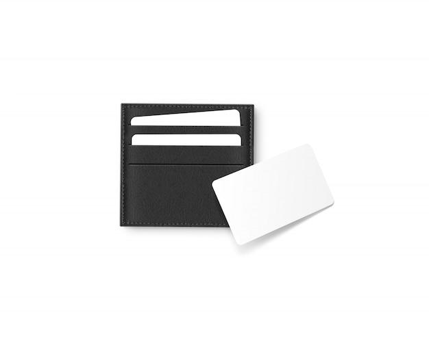 Zwart lederen kaartenhouder met blanco witte kaart