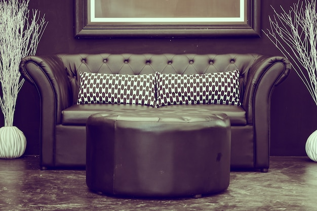 Zwart lederen sofa