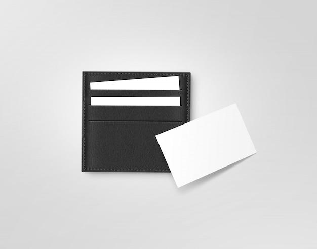 Zwart lederen telefoonkaart houder blanco witte kaart