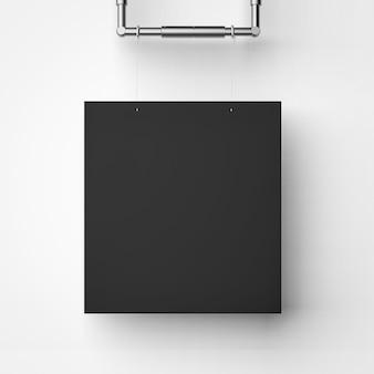Zwart leeg frame hangend op witte achtergrond