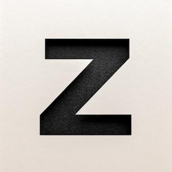 Zwart leer lettertype ontwerp, abstract alfabet lettertype, realistische typografie - z