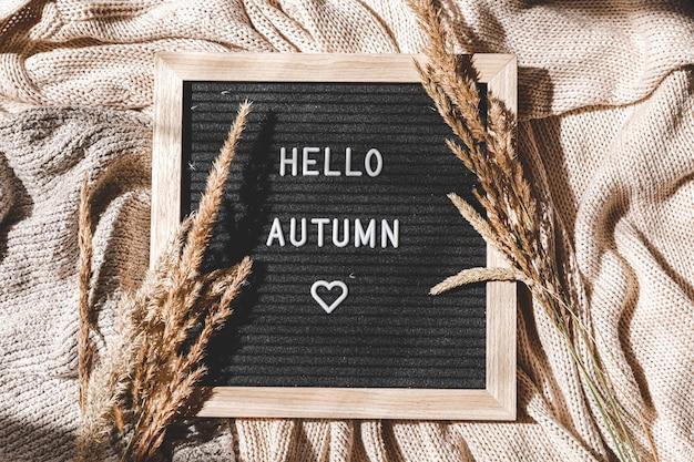 Zwart letterbord met tekst zin hallo herfst en gedroogd gras liggend op witte gebreide trui
