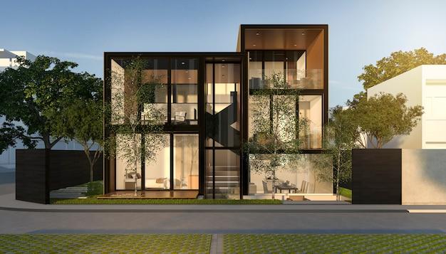 Zwart loft modern huis in de zomer