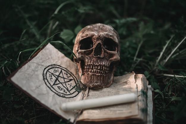 Zwart magisch boek met occulte symbolen en schedel