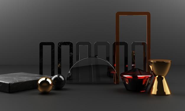 Zwart marmer textuur geometrische vorm en goud met roestvrij met glas object groep set 3d render abstracte scène leeg podium