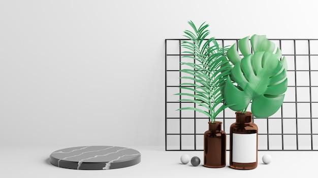 Zwart marmeren cilinderpodium en monstera-plantbladeren in bruine flesdecoratie met zwarte bal op een witte achtergrond. 3d illustratie weergave afbeelding.