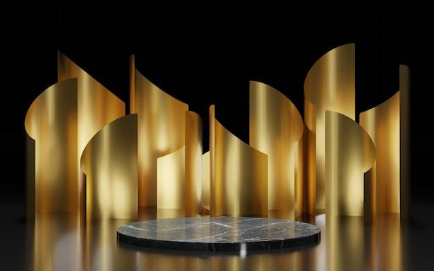 Zwart marmeren podium onder gouden 3d omgeving, geeft terug