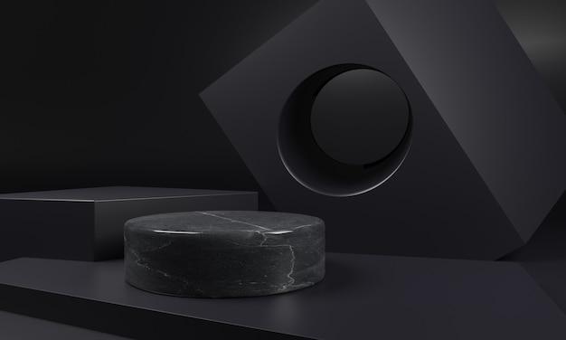 Zwart marmeren sokkelmodel met zwarte geometrische vorm
