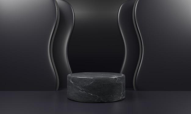 Zwart marmeren voetstukmodel op zwarte achtergrond.