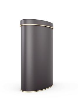 Zwart metalen blik met plaats voor uw tekst op wit. 3d-afbeelding.