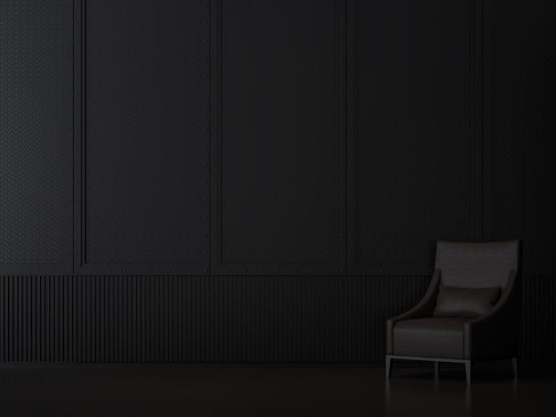 Zwart metalen kamerinterieur met industriële stijl 3d render ingericht met zwarte leren stoel
