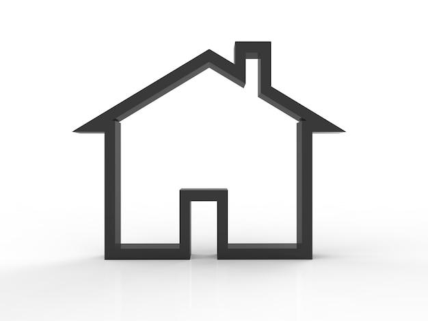 Zwart mock-up huis op witte achtergrond